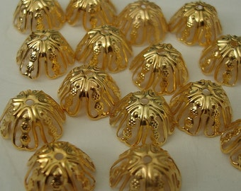 100pcs -Bright Gold Plated Bead Caps 11mm.