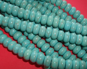 Natural Turquoise  Rondelle Beads  6x10mm.