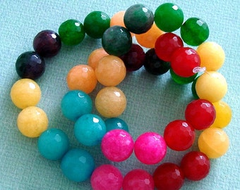 Candy Jade Faceted Round 10mm, 7.5 inch Strand Mix Color