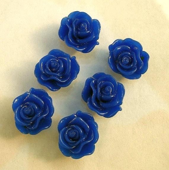 10pcs-Rose Flower Cabochon,Blue, Resin, 13mm.