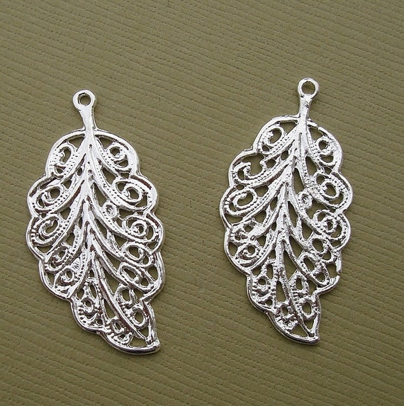 10pcs-Leaf Charm Pendant Connector Sterling Silver Plated.
