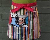 Half Apron, stripes, sky blue, hot pink, ruby red, heavy canvas, waitress