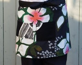 Plus Size Apron, Black, Pink, Tropical Flowers, Large Pockets, woman's wrap around