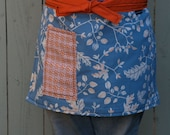 Apron Complementary colors, blue, orange, large pocket, heavy canvas fabric