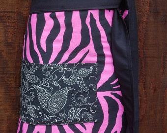 Woman's half apron, Half Apron, Tiger, hot pink, black, tiger stripes, heavy canvas