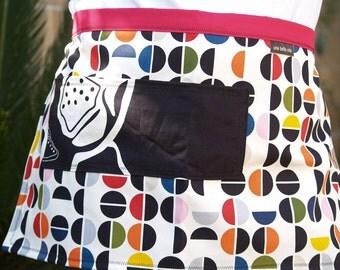 Apron Polka Dots, women's half apron, red, yellow, blue, black, heavy canvas fabric