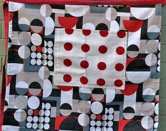 Woman's Long Half Apron, Geometric, red polka dots, Plus size, large pocket, heavy canvas fabric