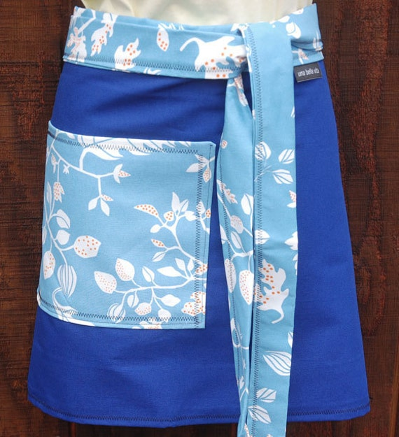 Half Apron, leaf designs, sky blue, royal blue, pocket, canvas, woman's half apron