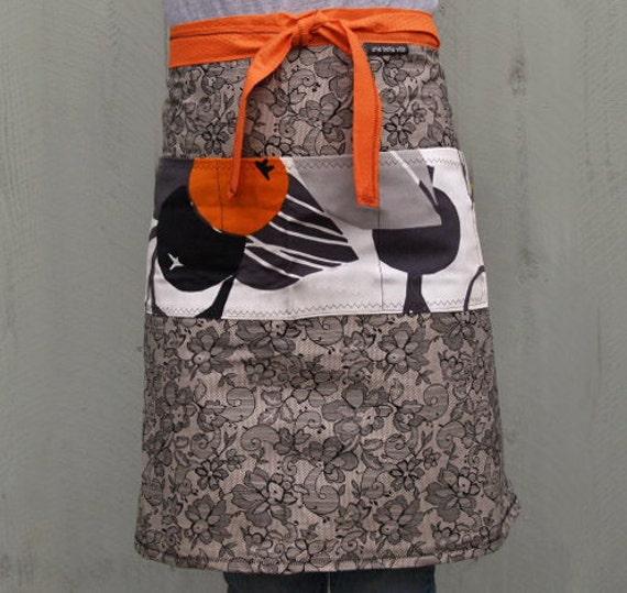 Woman's half apron, lace design, roomy pocket, long ties, orange