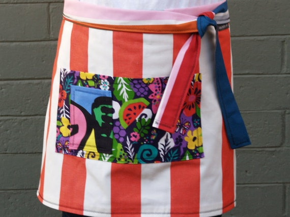 Woman's half apron,red white stripes,large pockets, heavy canvas