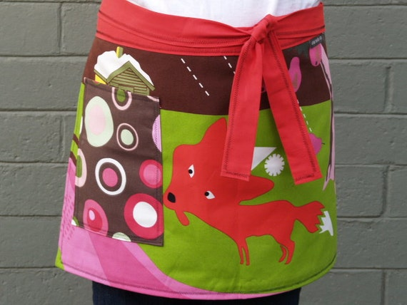 Curious Red Fox - Womans Apron  -  Kitchen Apron,  lime green, brown, woodland
