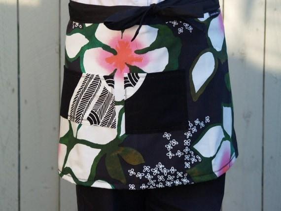 Plus Size Apron, Black, Pink, Tropical Flowers, Large Pockets, woman's wrap around