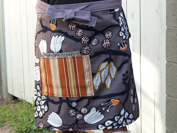 Earth tones apron, grey, brown, orange, trees, leaves, seedpods, woman's half apron, heavy canvas