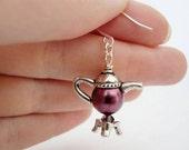 Teapot Pearl Earrings Tea Pot Purple Plum Alice In Wonderland Nickel Free Silver Free Shipping