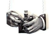 Vintage Camera Necklace Photography Photographer Kodak  Black and White Victorian Illustration