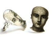 Phrenology Head Cuff Links Cufflinks Victorian Illustration Black and White