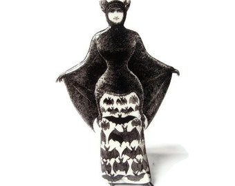 Victorian Bat Girl Brooch Halloween Jewlery Pin Costume Black and White Vintage Illustration Gothic