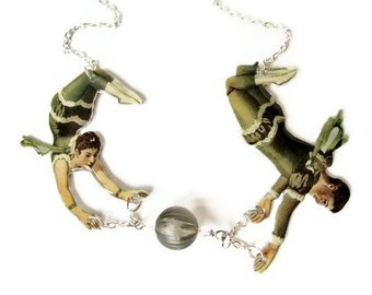 Acrobat Trapeze Necklace Circus Green Swarovski Black Cream White Vintage Illustration Aerial Carnival Jewelry