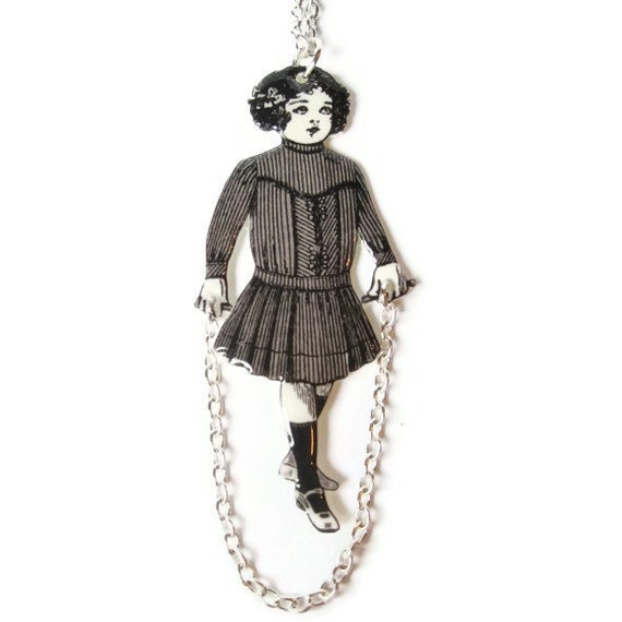 "Jump Rope Necklace Flapper Little Girl Lolita Novelty Fun Games Toys Black and White Vintage Illustration 16"" Chain"