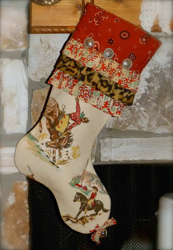 RESERVED for NANCY....Cowgirl Christmas Stocking -  The Frilly Filly  -  Country Christmas
