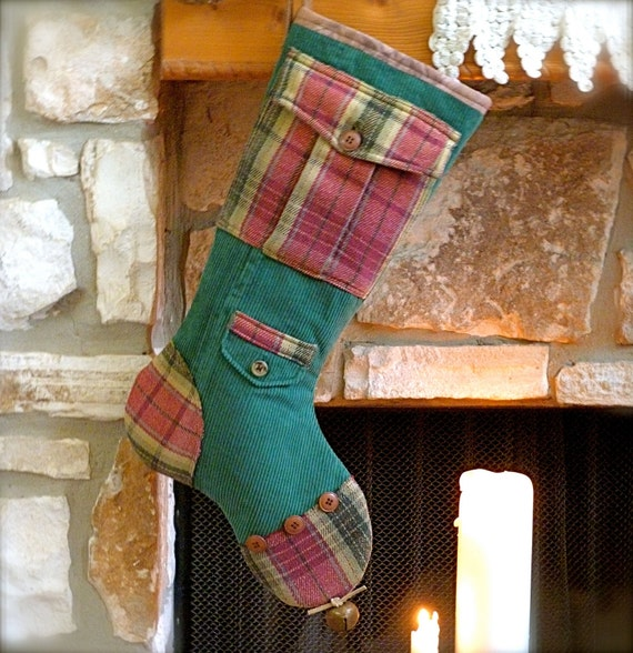 Mens Christmas Stocking ...  Mr. Green Britches ....Upcycled Christmas