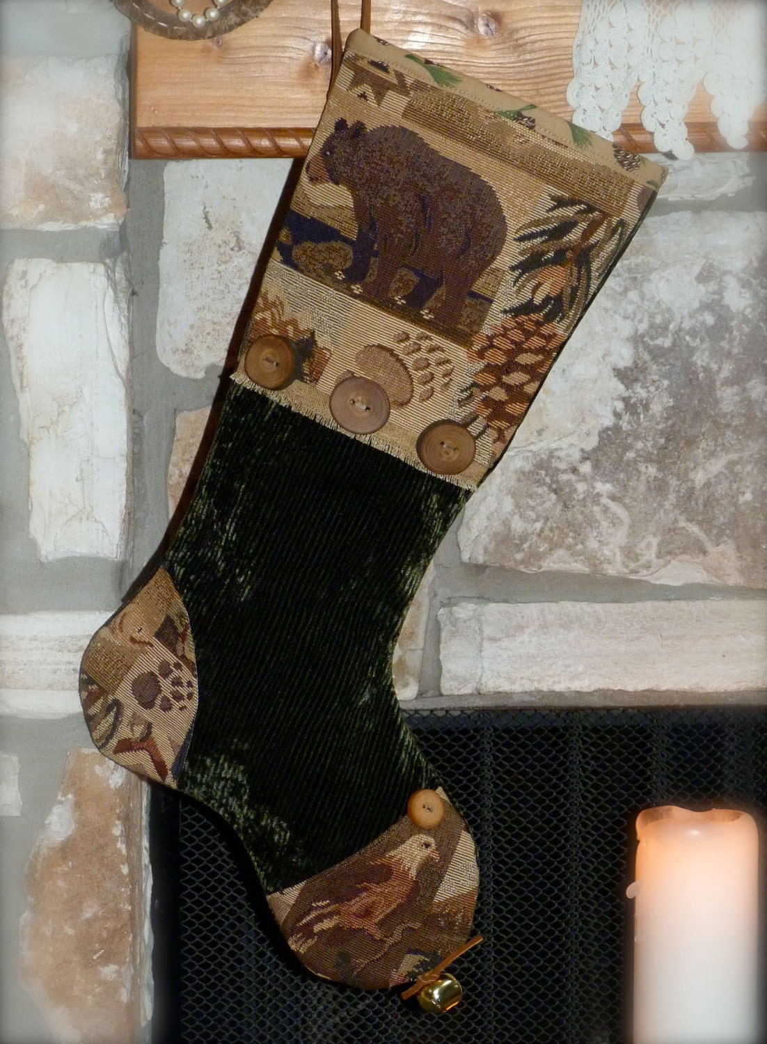 Rustic Christmas Stocking Christmas On The Mountain Mens