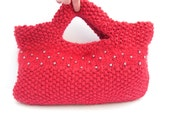 UK Sale , Red knitted bag , SALE CLEARANCE , Crimson Clutch purse , beaded hand knit purse , mothers day gift  , fall accessory