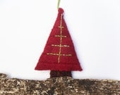 Festive red tree felted padded hanging ornament xmas Christmas bauble crimson recycled