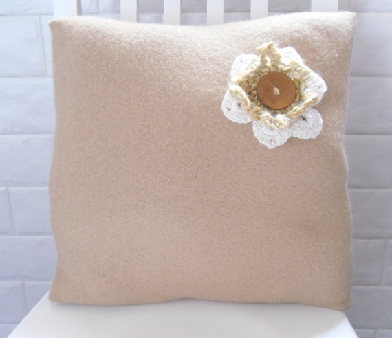 Pillow / cushion cover , Camel / Caramel felted with crochet flower detail and 2 fastening buttons. Recycled