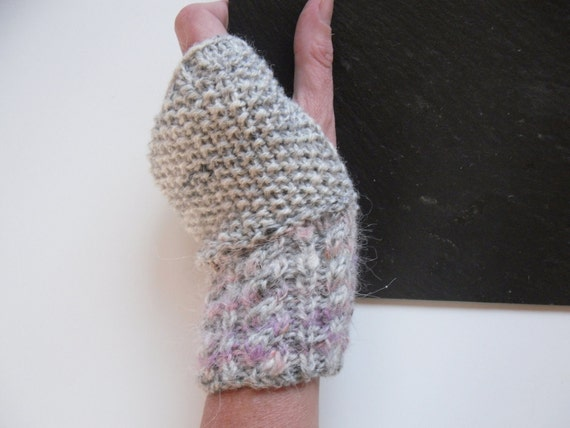 Fingerless gloves / mittens hand knitted , cabled rib in grey wool with mohair mix pink striped rib