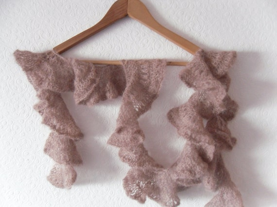 "Pink Ruffle womens scarf . Lace spiral. Hand knitted in Jaegar dusky pink mohair yarn . 5' long 4 "" wide"