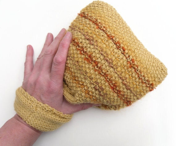 Yellow wristlet bag , SALE CLEARANCE , orange striped bag , valentine gift for her ,  Inspired by the Japanese Knot bag , hand knit