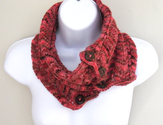 Hand knitted womens cowl scarf in Christmas Cherry Red & Chestnut merino yarn , wooden buttons