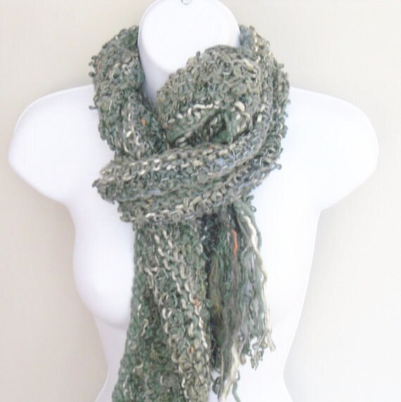 "Green womens scarf in multi coloured textual yarns Long Fringe Moss green , Muted blues  Over 4' long . 5"" fringe."