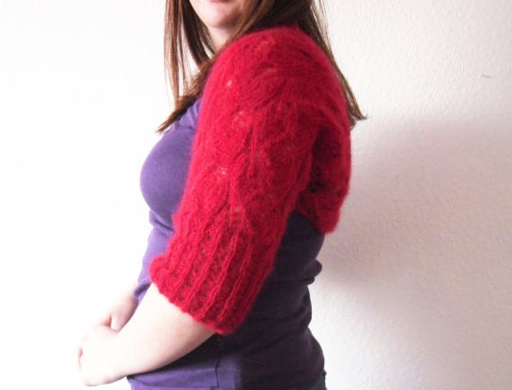 Red Bolero Shrug in Crimson Mohair .  Jacket / cardigan / wrap hand knitted in leaf lace pattern with ribbed cuffs
