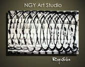 NGY Large 30 x  43 1.5 deep   Original Minimalist Modern Abstract Fine Art Painting by R. Silva
