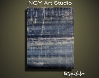 NGY Large 30 x  44 1.5 deep   Original Minimalist Modern Abstract Fine Art Painting by R. Silva