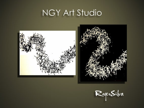 NGY  44  x  24 R. Silva Original Modern Abstract Contemporary Fine Art Painting