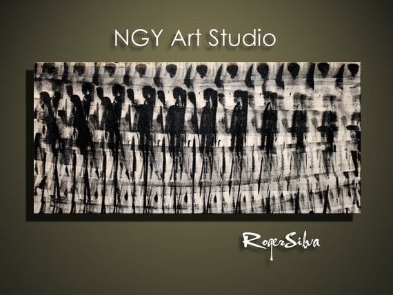 NGY Large 22 x  40 1.5 deep   Original Minimalist Modern Abstract Fine Art Painting by R. Silva