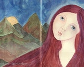 Listening a Lovely Goddess, Red Headed Beauty, Natures Beauty a Art Greeting Card