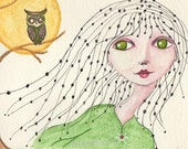 Beads in Her Hair, Owl in a Tree, Big Fat Moon, Fantasy art, Greeting Card or Photographic Art Print