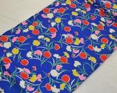 Fine wool vintage unused Kimono fabric colourful carnations
