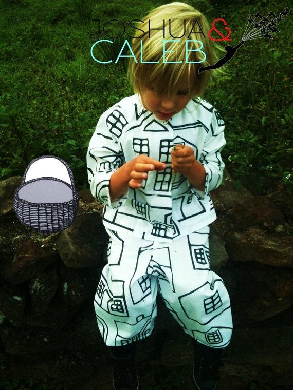 SPECIAL PRICE Boys House picture design light Cotton fabric Pyjamas Jammies