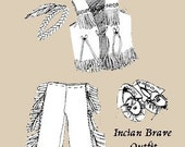 Sewing Pattern Teddy Bear INDIAN BRAVE Outfit with Tunic, Pants, Headband, and Moccosins. Easy to sew.