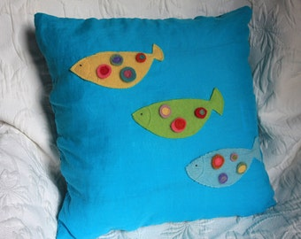 turquoise pillow cover 16 x 16 - polka dot fish
