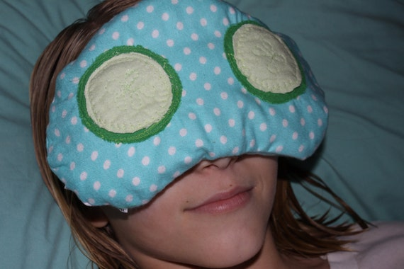 blue cucumber eye pillow - heat therapy rice bag - hot/ cold pack (use in microwave or freezer)