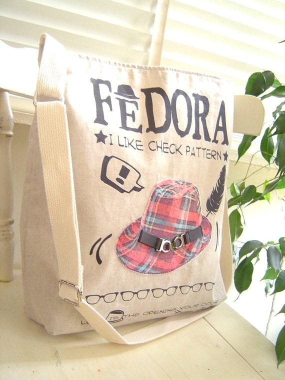 Last one. So stylish Linen Cross OR Shoulder Bag, Patch of Fedora print on Velvet