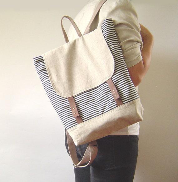 NEW Season New Bag - Vintage Dark Blue Stripe Denim, Oatmeal Linen BackSack, Unique Design of BagyBag