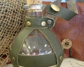 Pirate/Steampunk Glass Bottle, Olive Green, Leather-Wrapped