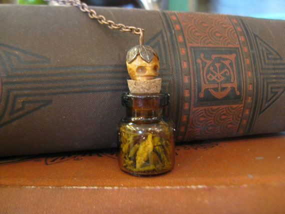 Glass Bottle Necklace Gris Gris Voodoo Amulet Talisman OOAK